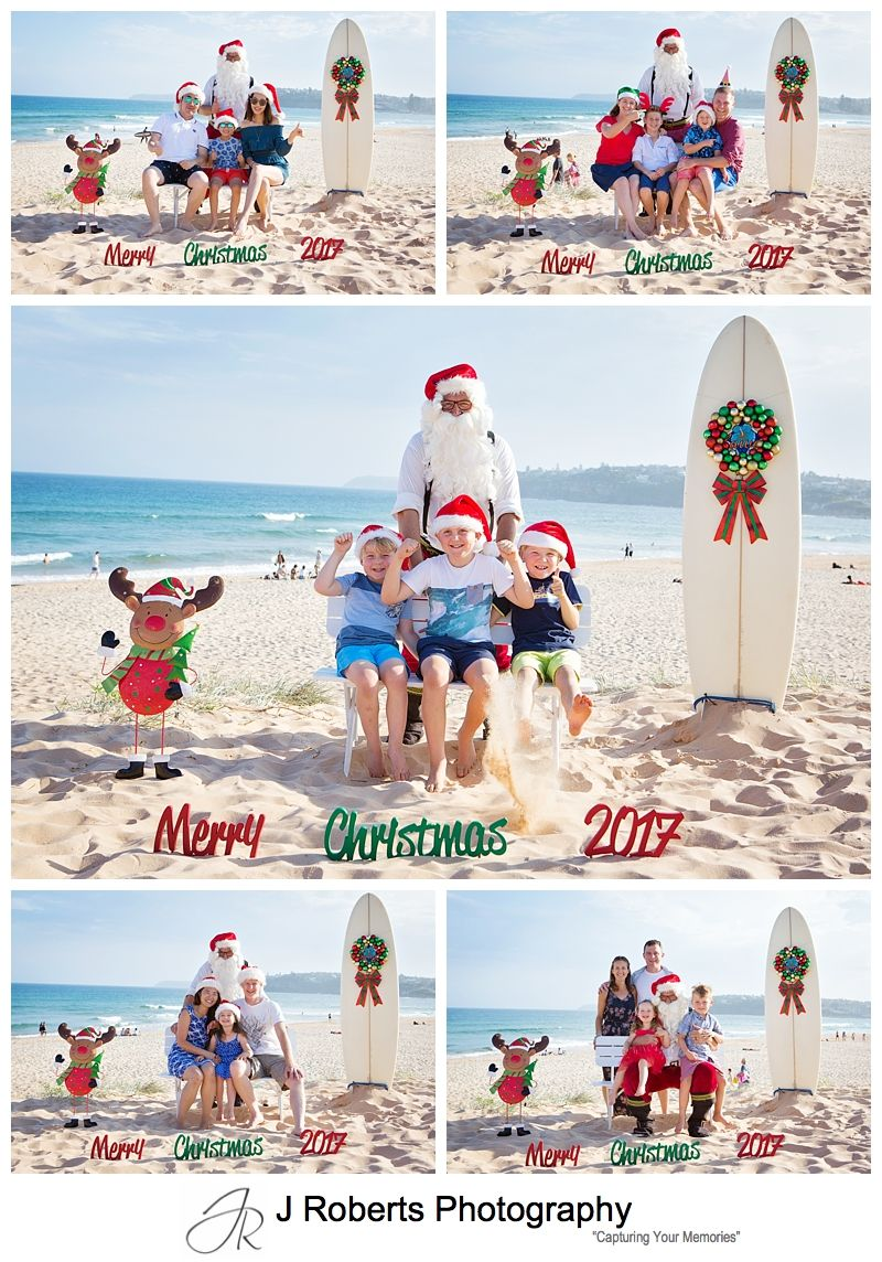 Aussie Santa at Long Reef Beach Professional Photos in December leading up to Christmas Lots of Fun